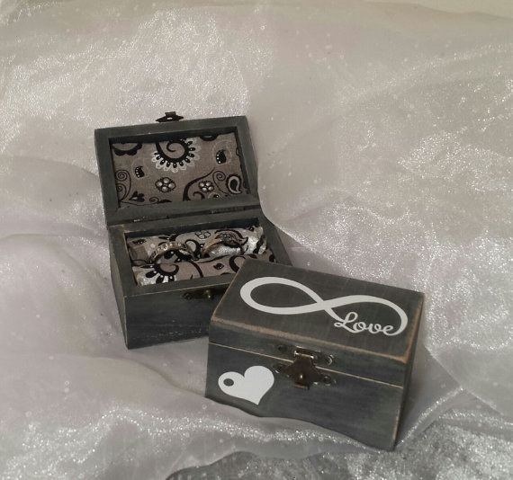 Wedding - Ring Bearer Wedding Ring Box, Ring Bearer Pillow Alternative, Ring Bearer Ring Box, Shabby Chic Wedding Ring Box, Infinity Ring Box