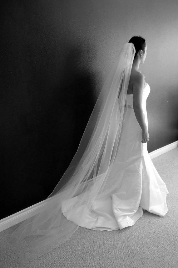 Mariage - Lauren** Single Tier Chapel Length Veil, Bridal Veil, Ivory, White, Tulle