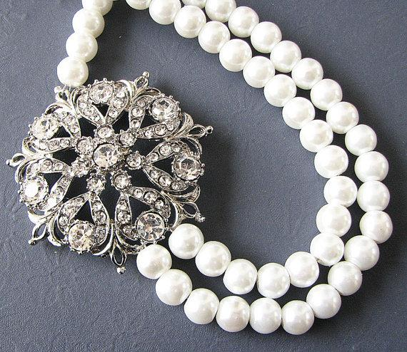 Hochzeit - Bridal Jewelry Pearl Necklace Wedding Jewelry Bridal Statement Necklace Crystal Necklace Double Strand Bridal Gift