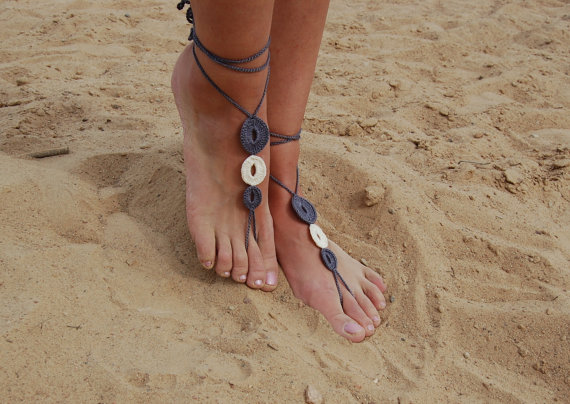 Свадьба - Crochet Barefoot Sandals, Bridal Shoes, Beach Shoes, Wedding Accessories, Nude Shoes, Yoga socks, Foot Jewelry