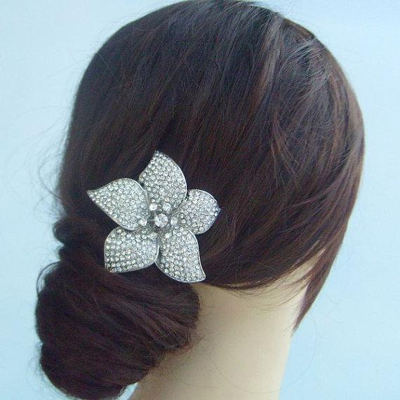 Свадьба - Wedding Hair Comb Wedding Headpiece Bridal Hair Accessories Rhinestone Crystal Flower Bridal Hair Comb Bridal Headpiece HSE04812C1