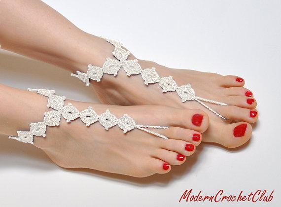 Hochzeit - Crochet Barefoot Sandals IVORY DIAMOND, ecru foot jewelry, nude shoes, beach wedding accessories, lace shoes, bridesmaids gift