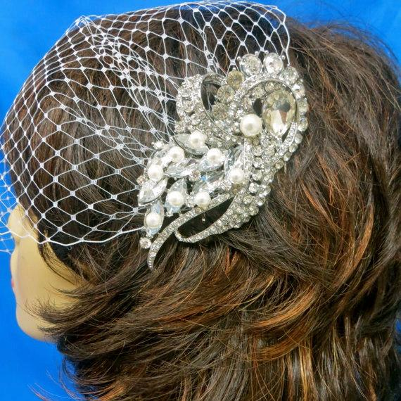 Свадьба - Bridal Rhinestone Veil, Bridal Bandeau Veil, Wedding Blusher Veil, Birdcage Bridal Veil