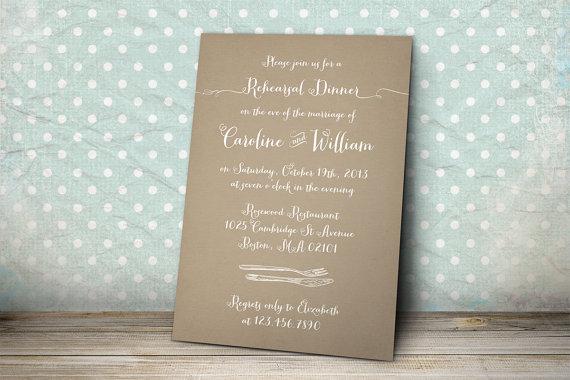 Свадьба - Printable Wedding Rehearsal Dinner Invitation - Woodland Rehearsal Dinner Invitation - Kraft Paper Background