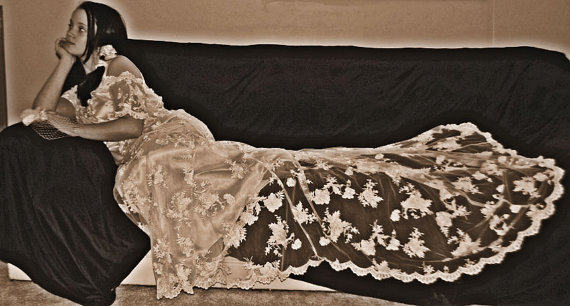 Hochzeit - CHANTELLE, Gorgeous French Lace Wedding Dress, Vintage Style, long train, custom made by sashcouture