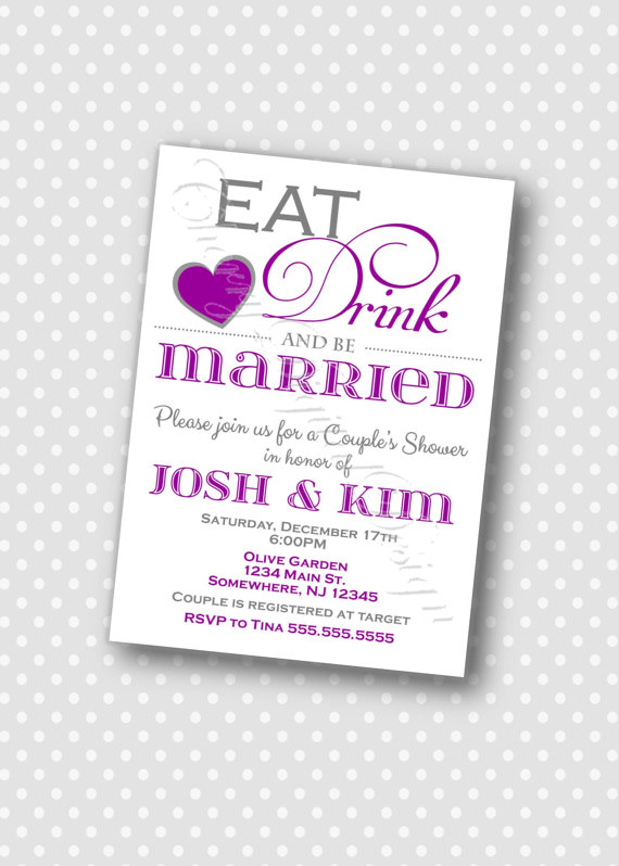 Wedding - Eat, Drink and be Married Couple's Wedding Shower Invitation.  Purple and gray Invitation, Wedding PDF Invitation.