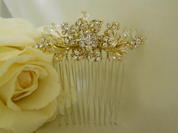 Свадьба - Gold Hair Comb Wedding Hair Comb Rhinestone Clear Crystal hair comb Bridal hair accessory Wedding jewelry Bridal Jewelry Wedding Accessory