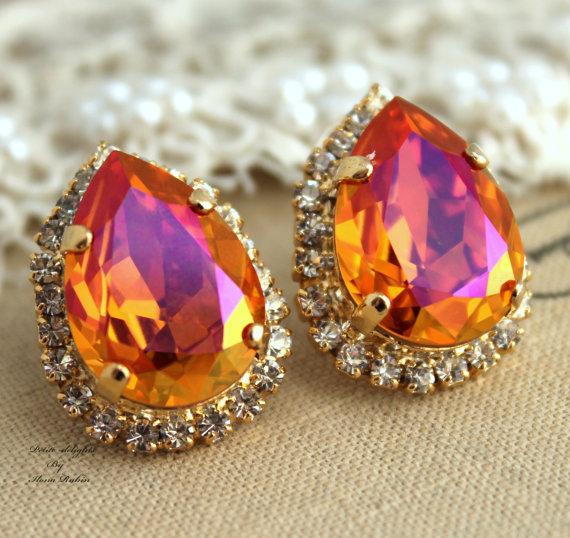 Mariage - Orange pink Swarovski Rhinestone Teardrop studs earring, Bridal earrings, Orange earrings, Wedding jewelry , Crystal Orange stud earrings