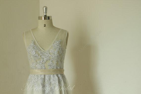 Hochzeit - 2014 Sleeveless silver Sex sheer ivory wedding dress, sex wedding dress, destination wedding dress, receiption dresses