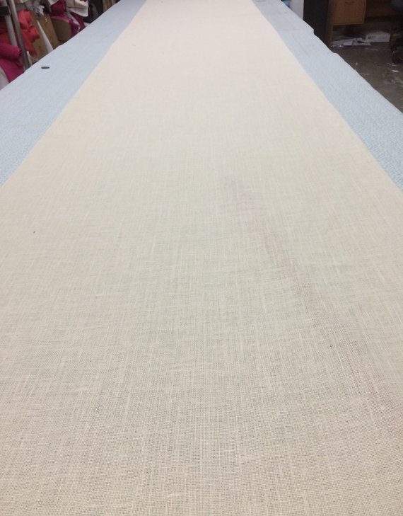Wedding - Ivory  Off White Burlap  Custom Made Aisle Runner  reserved listing to change it to 35 feet