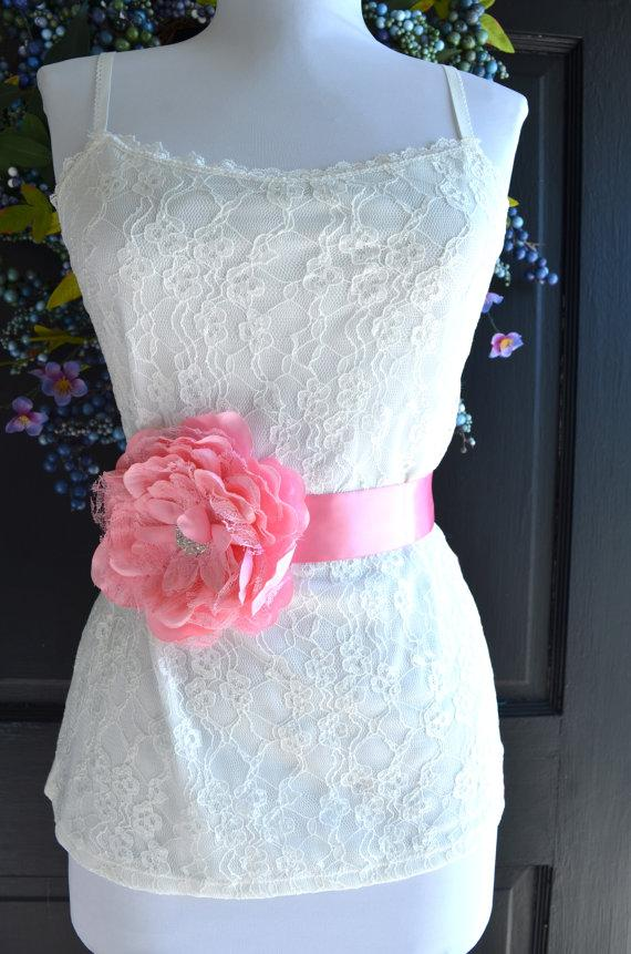Wedding sash pink flower wedding dress sash bridal sash for Wedding dress with red belt