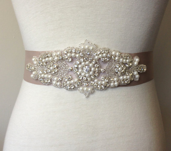 Свадьба - Applique Sash-Taupe Sash-Bride Sash-Bridal Sash-Rhinestone Belt-Bride Pearl Belt-Satin Ribbon Belt-Rhinestone Pearl Applique Sash