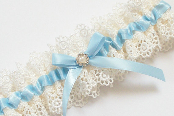 Свадьба - Light Blue Wedding Garter, Something Blue Wedding Garter  - The ALLIE Garter