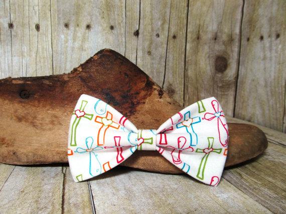 Свадьба - White Crosses Bow Tie, Clip, Headband or Pet