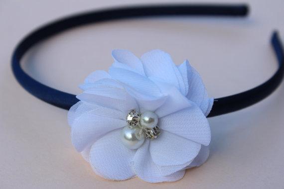 Свадьба - navy blue headband flower girl plastic headband toddler headband navy blue and white headband navy blue wedding headband girls headbands