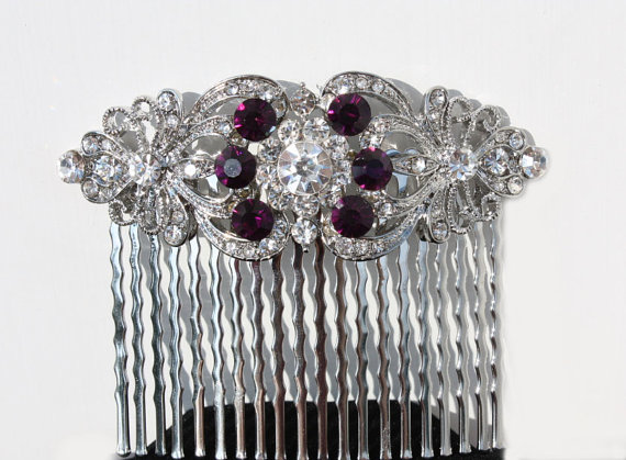 Свадьба - purple hair comb,purple hair clip,amethyst hair comb,purple bridal jewelry,bridal hair comb,wedding hair comb,wedding,purple bridal shoes