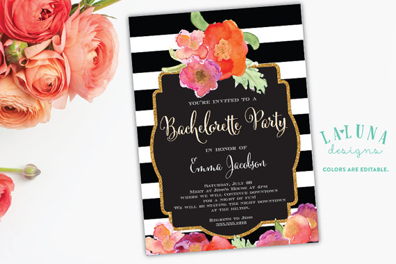 Bachelorette Party Invitation Black White Stripe Floral Glitter