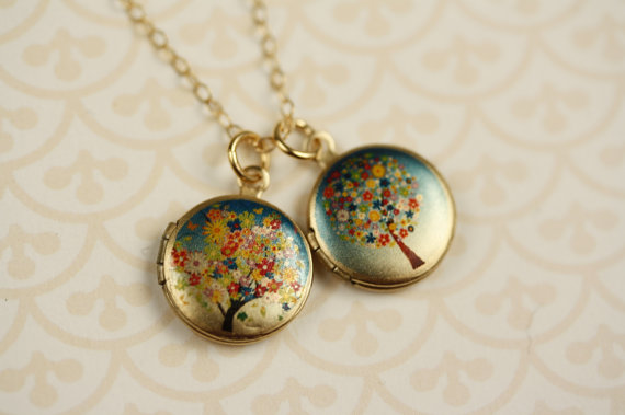 Свадьба - Small Flower Tree Lockets Necklace, Colorful Locket, Wedding Jewelry, 14kt Gold Necklace, Pink Locket, Baby Blue