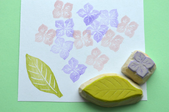 Свадьба - mini hydrangea flower with leaf stamp set, handcarved rubber stamps, handmade rubber stamp, flower stamp