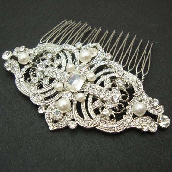 Свадьба - Vintage Style Bridal Hair Comb, Wedding Hair Comb, Wedding Bridal Hair Accessories, Art Deco Wedding Headpiece, REGINA