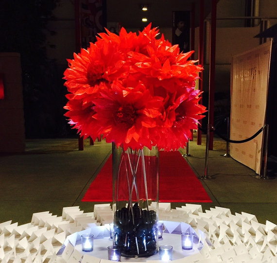 """Wedding - 12 DIY,9"""", Tissue Paper Poppies, Anemone Tree Peonies, Anemoes,Daisies, Poppies,  Gerberas for Pews, Chairs, with ties"""
