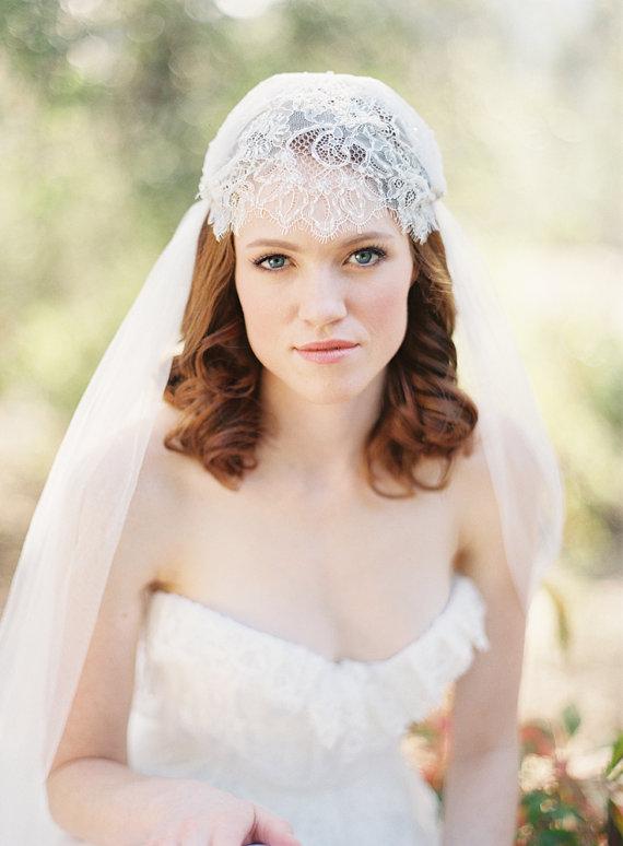 زفاف - Wedding Veil, Bridal Veil, Juliet Cap veil, lace Veil - Style 219
