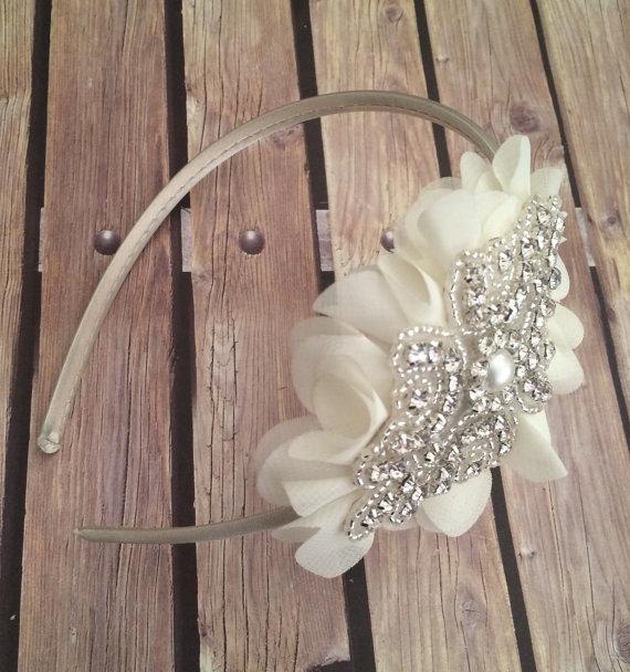 Mariage - Rhinestone headband, ivory headband, flower girl headband, wedding headband, dressy headband, formal headband, baby headband, flower girl
