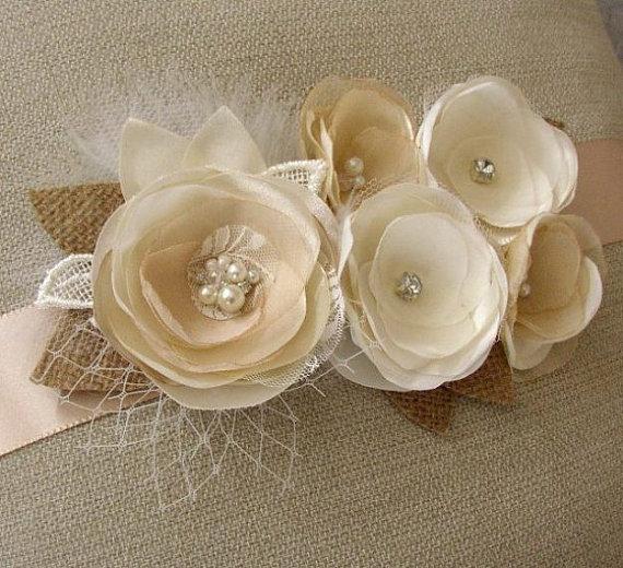 Свадьба - Rustic Wedding Sash - Ivory White Champagne Bridal Sash - Floral Wedding Belt - Burlap Wedding Sash - Sashes Belts - Hessian Feather Pearls