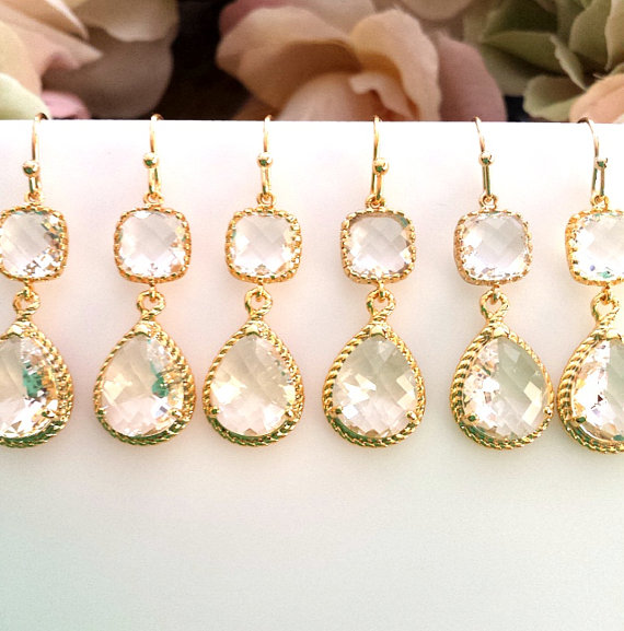Свадьба - Clear crystal Earrings, gold wedding earrings, Drop, Dangle Earrings,bridesmaid gifts, Bridal gift,Wedding jewelry, Bridesmaid earrings