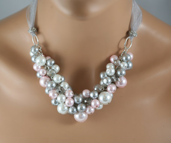 Свадьба - Chunky bridal necklace in pearls of white pink and grey (gray)- bridal jewelry-wedding jewelry