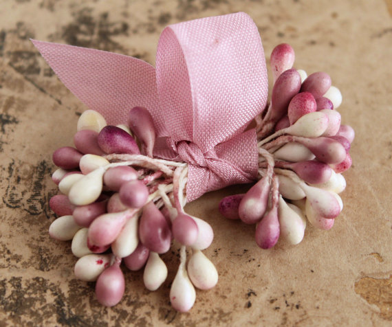 Mariage - NEW! Rose Blush Double Ended Stamens - Corsage and Boutonnier Wedding Floral Supplies