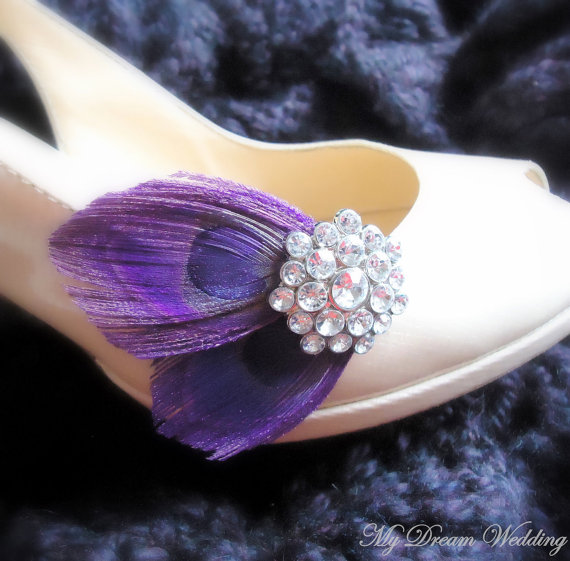 Mariage - Purple Peacock Shoe Clips. Stunning, Bridal, Wedding.- PARISIENNE GIRL Collection-PURPLE-