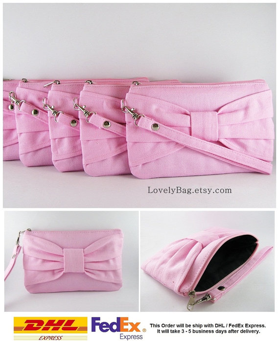 Mariage - SUPER SALE - Set of 5 Light Pink Bow Clutches - Bridal Clutches, Bridesmaid Clutch, Bridesmaid Wristlet, Wedding Gift - Made To Order