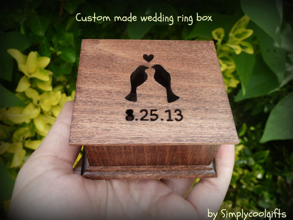 Wedding - wedding ring box, custom ring box, ring pillow box, personalized ring box, pillow box, ring box, gift box, wedding ring pillow, wooden box