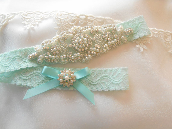Свадьба - Wedding Garter Set Lingerie Lace 4 Colors Bridal Garter Set With Classic Pearls and Rhinestones