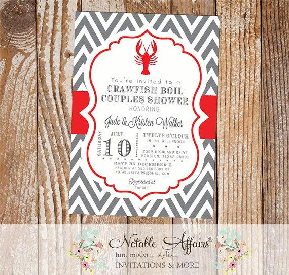 Mariage - Crawfish Boil Couples Shower Party Celebration Engagement Couples Shower Invitation - - gray and red - colors and wording can be changed