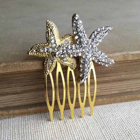 Свадьба - Starfish hair comb gold, Beach Wedding hair comb, beach wedding hair accessories bridal sea star fish crystal GOLD