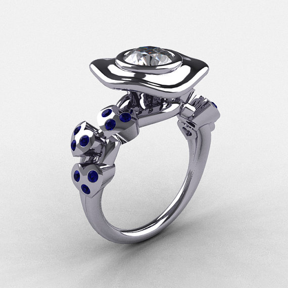 Mariage - Natures Nouveau 950 Platinum Blue and White Sapphire Leaf and Mushroom Wedding Ring, Engagement Ring NN103A-PLATBWS