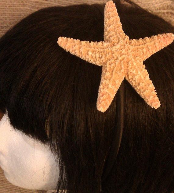 Mariage - Starfish headband , ocean, Beach wedding, tropical wedding, bridal, starfish barrette, starfish hair clip, fish, ocean clip