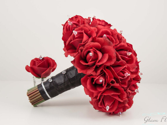 Large Red Rose Wedding Bouquet - Real Touch Roses. 11 ...