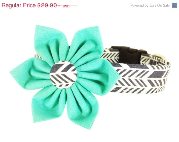Wedding - ON SALE Aqua Gray Chevron Flower Dog Collar Set/ Girl Collar and Flower/ Wedding Dog Collar: Sunprint Feathers
