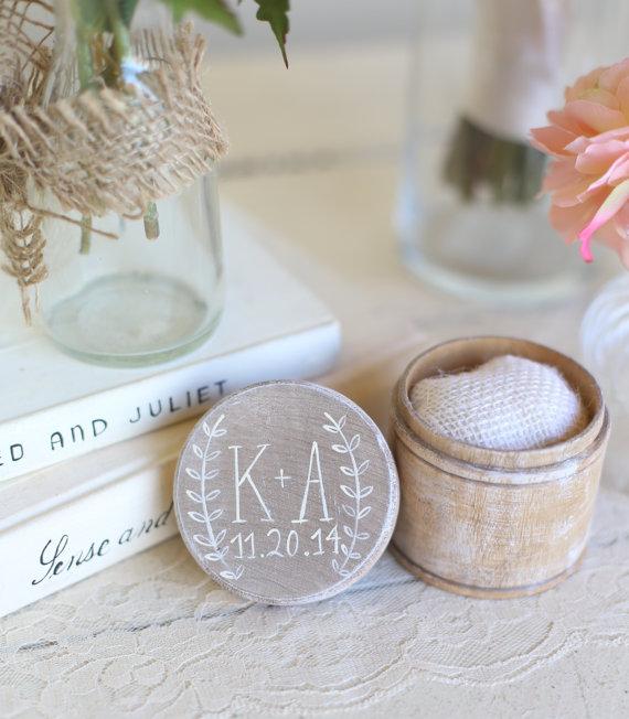 Wedding - Personalized Rustic Ring Bearer Pillow Box Shabby Chic Wedding Decor Custom by Morgann Hill Designs