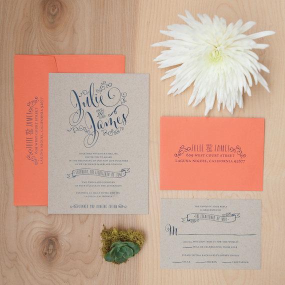 Hochzeit - Kraft Wedding Invitation, Boho Invitation, Navy and Coral Invitation, Rustic Invitation SAMPLE