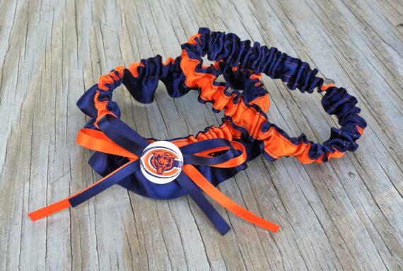 Mariage - Chicago Bears Bridal Satin Wedding Garter Navy Blue & Orange Keepsake Or Garter SET