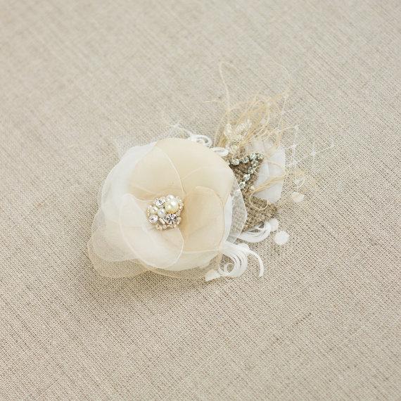 زفاف - Wedding hairpiece Bridal headpiece Bridal hair flower Wedding hairpiece Bride hair accessory Rustic vintage Ivory Beige Cream nude Lace Rose
