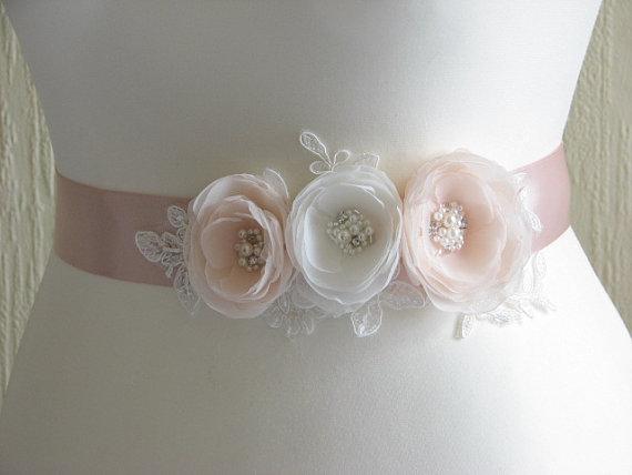 Свадьба - Blush ribbon sash Champagne blush sash Blush ivory sash Champagne ribbon sash Champagne dress Blush dress Champagne wedding Ivory blush sash