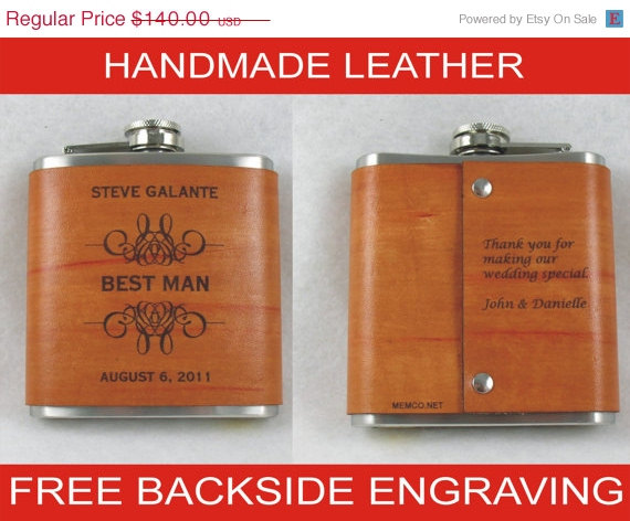 Свадьба - 15% OFF SALE Set of 7 Engraved Flask, Groomsmen Personalized Flask with Hand Dyed Engraved Leather Wrap - with FREE Engraved Message