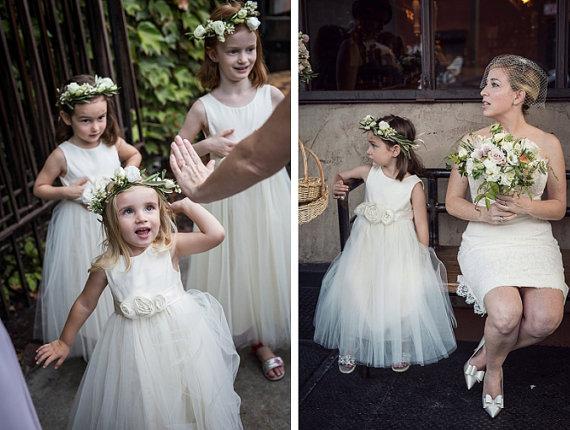 Wedding - Ivory Flower girl dress ...... Organic sateen Cotton size 2T-5