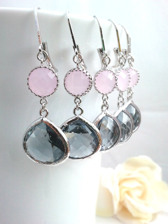 Mariage - Gray earrings, Pink Wedding Earrings,charchoal Drop Earrings, Pink Dangle, Glass Earrings, bridesmaid gifts,Gift for her