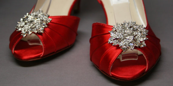 Mariage - Custom Wedding Shoes -- Red Peeptoes with Silver Rhinestone Adornment